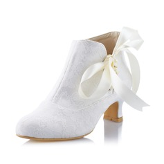 Women's Lace Spool Heel Closed Toe Pumps With Lace-up (047041535)