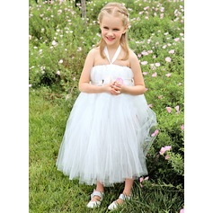 Empire Knee-length Flower Girl Dress - Satin/Tulle Sleeveless Halter With Ruffles/Flower(s)/Bow(s)/Pleated