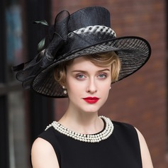 Elegant Net Yarn With Feather Bowler/Cloche Hat