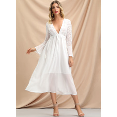 A-Line V-neck Tea-Length Mother of the Bride Dress