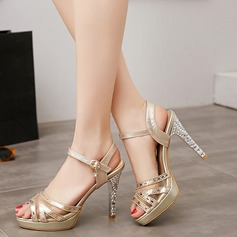 Women's Leatherette Stiletto Heel Sandals With Buckle Split Joint shoes (087114595)