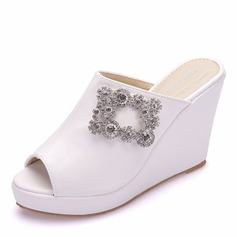Women's Leatherette Wedge Heel Closed Toe Peep Toe Platform Sandals Wedges With Crystal