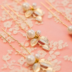 Elegant Alloy/Imitation Pearls Hairpins (Set of 6)