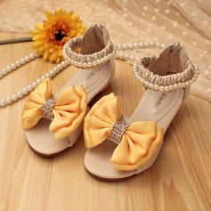 Girl's Peep Toe Leatherette Flat Heel Sandals Flats Flower Girl Shoes With Bowknot