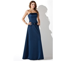 A-Line/Princess Strapless Floor-Length Satin Bridesmaid Dress With Ruffle Beading