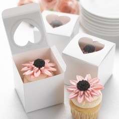 Heart Cut–outs Cubic Card Paper Favor Boxes & Containers/Cupcake Boxes (Set of 12)