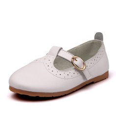 Girl's Real Leather Flat Heel Closed Toe Flats With Buckle