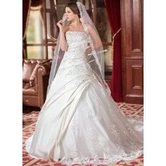 Ball-Gown Strapless Chapel Train Satin Wedding Dress With Ruffle Beading Appliques Lace Sequins