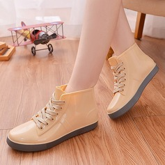 Women's PVC Flat Heel Boots Mid-Calf Boots Rain Boots With Lace-up shoes