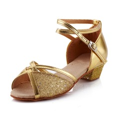Kids' Leatherette Heels Sandals Pumps Latin With Ankle Strap Dance Shoes