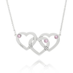 Christmas Gifts For Her - Custom Sterling Silver Heart Engraving/Engraved Overlapping Three Name Necklace Heart Necklace With Birthstone (288215482)