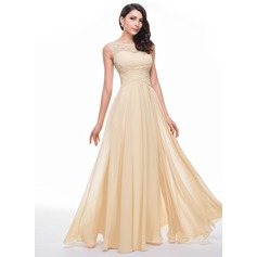 A-Line/Princess Scoop Neck Floor-Length Chiffon Prom Dresses With Ruffle Beading Flower(s) (018056791)