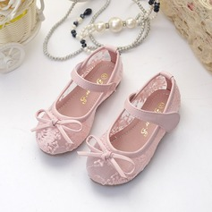 Girl's Lace Flat Heel Closed Toe Flats With Bowknot Velcro