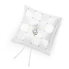 Check Design Ring Pillow in Satin With Rhinestones/Faux Pearl