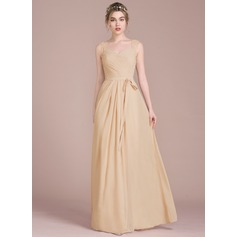 A-Line/Princess Floor-Length Chiffon Bridesmaid Dress With Ruffle Lace Beading Sequins Bow(s)
