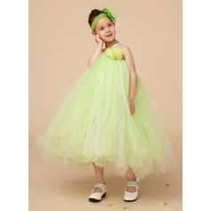 A-Line/Princess Knee-length Flower Girl Dress - Tulle/Charmeuse Sleeveless V-neck With Flower(s)/Bow(s)