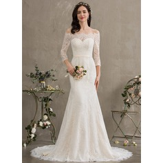 Trumpet/Mermaid Off-the-Shoulder Court Train Lace Wedding Dress