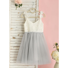 Knee-length Flower Girl Dress - Chiffon Satin Lace Sleeveless V-neck (269250968)