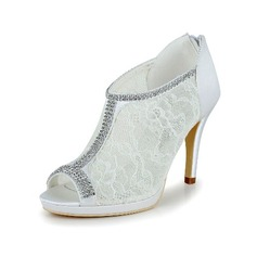 Women's Lace Satin Stiletto Heel Boots Peep Toe Pumps With Rhinestone