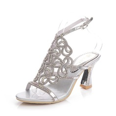 Women's Leatherette Chunky Heel Sandals Slingbacks With Rhinestone (047083948)