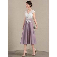 V-neck Tea-Length Chiffon Lace Cocktail Dress (270194159)