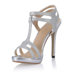 Women's Sparkling Glitter Stiletto Heel Sandals Pumps With Buckle shoes (087054107)