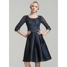 A-Line/Princess Scoop Neck Knee-Length Satin Mother of the Bride Dress With Sequins