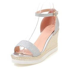 Frauen Funkelnde Glitzer Keil Absatz Absatzschuhe Plateauschuh Keile Peep Toe mit Schnalle Schuhe