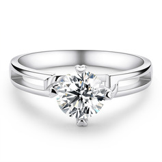 Solitaire Round Cut 925 Silver Engagement Rings (303261172)