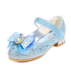 Girl's Closed Toe Microfiber Leather Low Heel Flower Girl Shoes