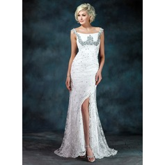 Trumpet/Mermaid Off-the-Shoulder Sweep Train Lace Mother of the Bride Dress With Ruffle Beading Sequins Split Front