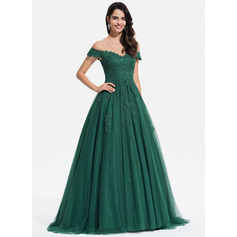 Ball-Gown/Princess V-neck Sweep Train Tulle Evening Dress With Lace