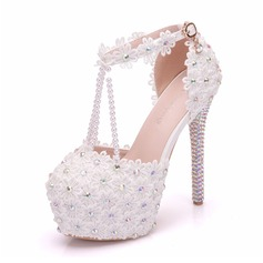 Women's Leatherette Spool Heel Closed Toe Pumps Sandals With Crystal Heel Applique Pearl