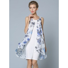 Polyester/Chiffon With Print Above Knee Dress (199087162)