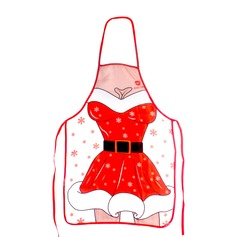 The Cartoon Style Woman  Apron Christmas Decorations Christmas Apron(Sold in a single piece)