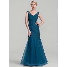 Trumpet/Mermaid V-neck Floor-Length Tulle Lace Mother of the Bride Dress
