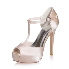 Women's Satin Stiletto Heel Peep Toe Platform Sandals