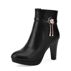 Women's Leatherette Stiletto Heel Boots Ankle Boots With Rhinestone shoes