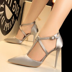 Women's Satin Stiletto Heel Pumps Closed Toe With Hollow-out shoes
