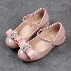 Jentas Round Toe Lukket Tå Leather lav Heel Flate sko Flower Girl Shoes med Bowknot Velcro Crystal Perle