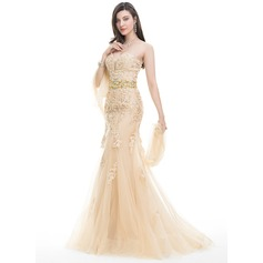 Trumpet/Mermaid Sweetheart Sweep Train Tulle Lace Prom Dresses With Beading Sequins