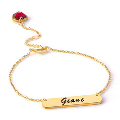 Christmas Gifts For Her - Custom 18k Gold Plated Sterling Silver Delicate Chain Name Bracelets Birthstone Bracelets (106219661)