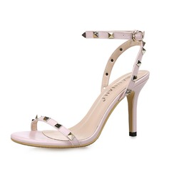 Women's Leatherette Stiletto Heel Sandals Slingbacks With Rivet shoes