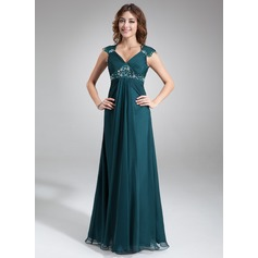 A-Line/Princess V-neck Floor-Length Chiffon Mother of the Bride Dress With Ruffle Lace Beading