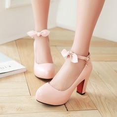 Women's Leatherette Chunky Heel Pumps With Bowknot Buckle shoes