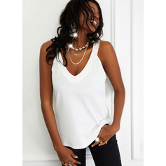Regular Fitted Solid Basic Casual Sleeveless (1003256685)