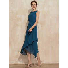 A-Line Scoop Neck Asymmetrical Chiffon Cocktail Dress With Beading Cascading Ruffles