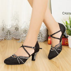 Women's Satin Ballroom With Rhinestone Buckle Dance Shoes