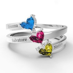 Personalized Classic S925 Sliver Heart Cubic Zirconia/Birthstone Rings For Bride/For Friends/For Couple