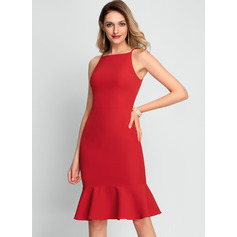 Trumpet/Mermaid Square Neckline Knee-Length Stretch Crepe Cocktail Dress